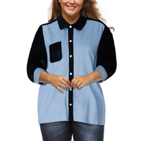 Plus Size Woman Shirts Fashion Wear To Work Turn Down Collar Office Blouse 3 4 Sleeve