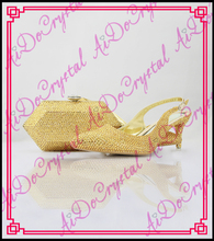Aidocrystal ladies wedding shoes and bag to match gold crystal pointed toe slingbacks with geometric shape bag