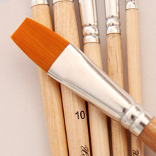 6Pcs/set Watercolor Gouache Paint Brush, crude wood Different Shape Round Pointed Tip Nylon Hair Painting Brush Set Art Supplies