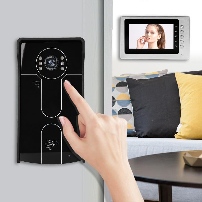 Wired LCD Camera Doorbell Video Intercom ID Card Unlock Entry System Night Vision Security New 7inch video doorphone intercom system tft lcd color screen monitor gold night vision camera id card unlock video doorbell