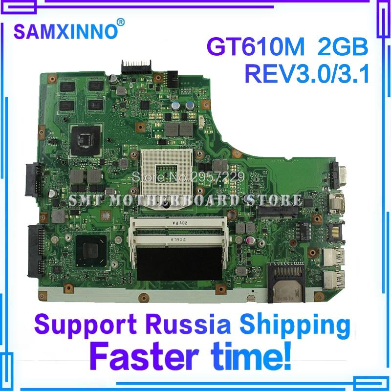 K55VD Motherboard REV3.0/3.1 GT610M 2GB For ASUS R500A K55V laptop Motherboard K55VD Mainboard K55VD Motherboard test 100% ok k55vd laptop motherboard for asus 8pcs video card rev3 0 k55vd mainboard full tested