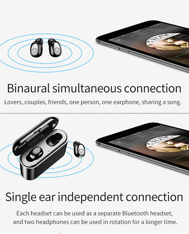 X8 TWS Bluetooth True Wireless Earphones 5D Stereo Earbuds Mini TWS Waterproof Headfrees 2200mAh Power Bank For Smart phones