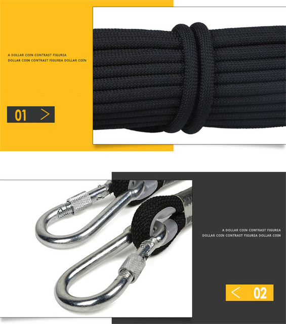 Professional Climbing Cord 12mm Diameter Length 10-100m 18KN High Strength polypropylene Paracord Safety Rope with 2pcs Buckle 4