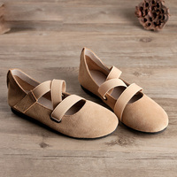 Spring Women Ballet Flats Really Leather Shoes Woman Japan Style Mori Girl Bandage Hand Made High