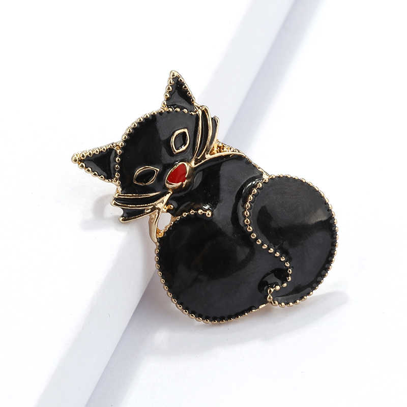 Amorcome Enamel Cat Bros untuk Wanita Gadis Syal Kerah Pin Bir Hitam Hewan Bros Wanita Perhiasan Natal Hadiah