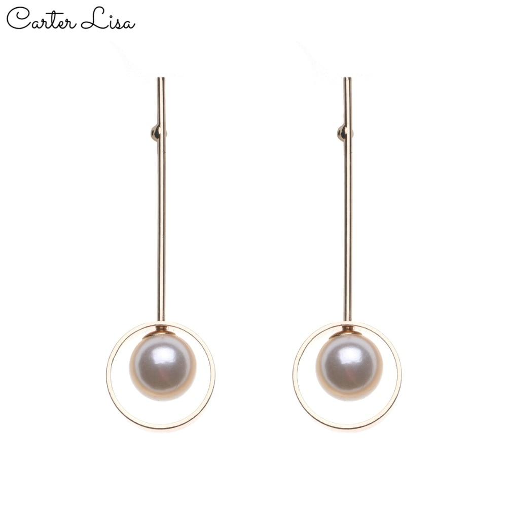 CARTER LISA 2019 NEW Fashion Geometric Long Asymmetry Earring Rhinestone Circle Ear Stud New Acrylic Big Earrings Bijoux Brincos