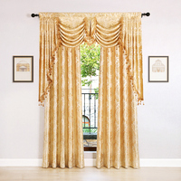 European Golden Jacquard Curtains for Living Room Luxury Window Curtains Set for Bedroom (1 set=1 valance+2 curtains)