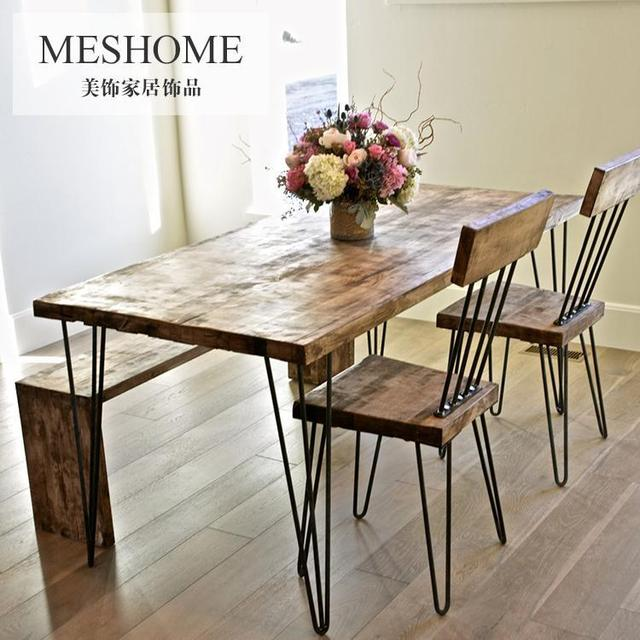 Rustic Pine Wood Dinette Dining Table Iron Leisure Suit Long Chairs Bench