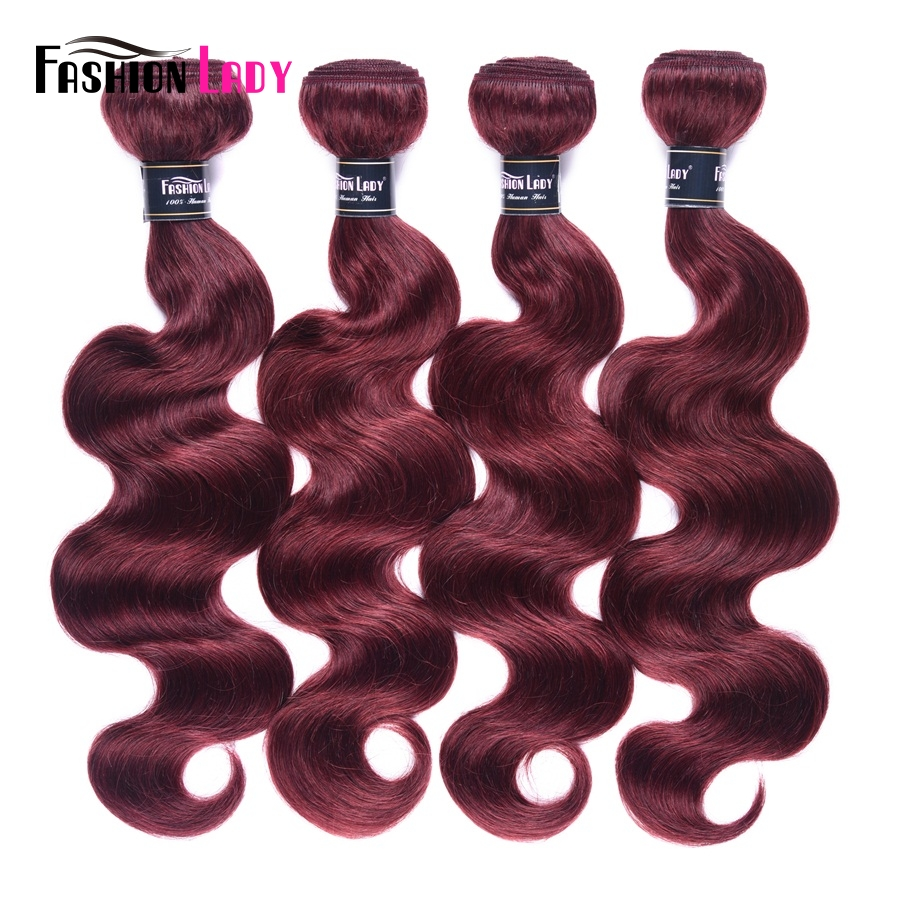Fashion Lady Pre-colored Peruvian Hair Bodywave Bundles 100% Human Hair Weaves 99j Bundles Red Hair Four Bundles Non-remy Hair