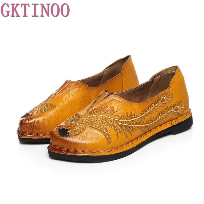 2018 Shoe For Women Handmade Shoes Genuine Leather Soft Embroidered Flats Autumn Casual Shoes Pointed Toe Women Flats