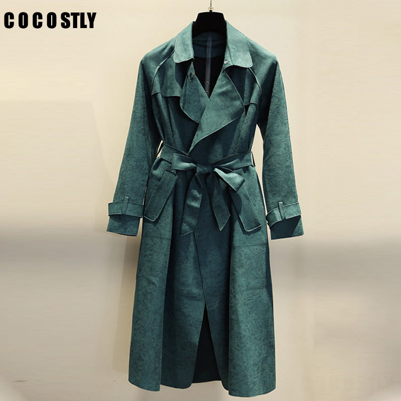 2018 Spring Suede Trench Coat For Women Abrigo Mujer Long Elegant Outwear Female Overcoat Slim Green Suede Cardigan Long Trench