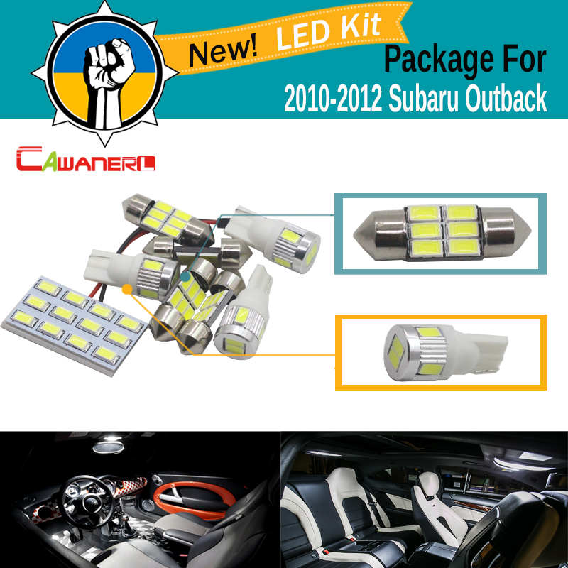 Cawanerl 7 x Car 5630 SMD LED Kit Package Interior LED Bulb White Map Dome Trunk Step light For Subaru Outback 2010 2011 2012 12pcs white canbus car super bright led light bulb interior package kit for 2009 2012 audi tt mk2 map trunk door glove box lamp
