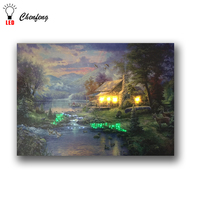 4pcs warm leds with 60 point fiber optic light spring lake landscape led canvas wall picture light up canvas print art painting