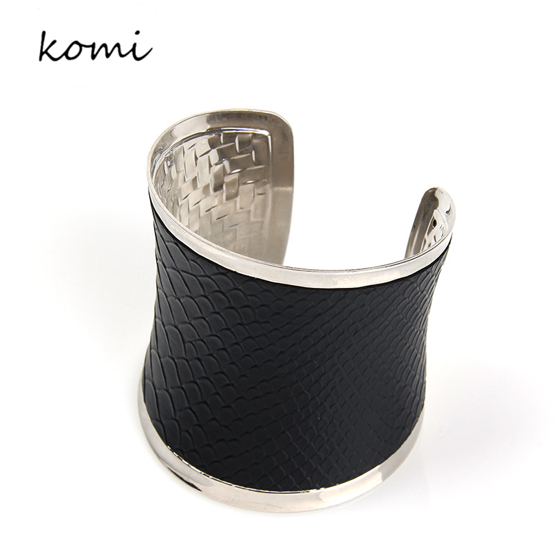 Top Quality Luxurious Personality Exaggerate Cuff Bracelets Bangles For Women Femme Jewelry Wide Leather Bracelet Bangles B-001