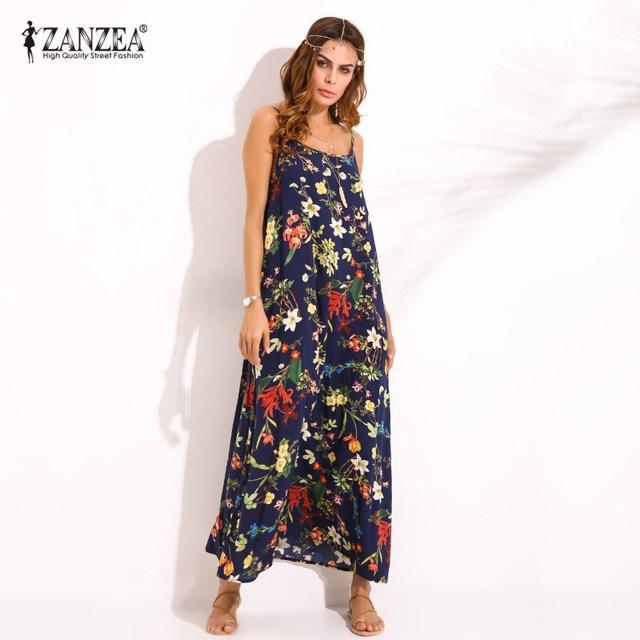 Plus Size S-5XL ZANZEA Women Sexy Floral Print Sleeveless Sundress Summer Ladies Casual Loose Long Dress Vestido Plus Size
