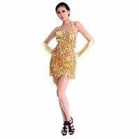 Sexy Women Lady Girls Latin Dance Dress Sequins Tass Sequins Tassel Decorate Sleeveless Dancewear LM75