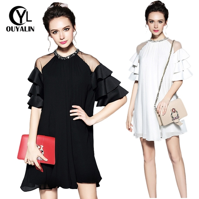 S 5XL Elegant Women Layers Ruffle Loose Casual Dresses Plus Size ...