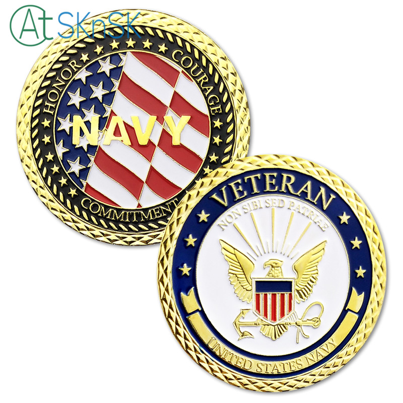High quality Commemorative Coins U.S. Navy Emblem Veteran With Flag coins USA eagle Challenge Coin Gold Plated Coin Collection emblem