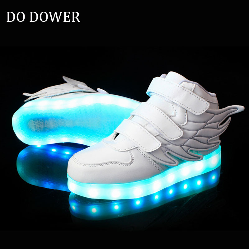 25-37 Size/ USB Charging Basket Led Children Shoes With Light Up Kids Casual Boys&Girls Luminous Sneakers Glowing Shoe enfant *&