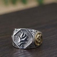 FNJ 925 Silver Buddha Ring Bring Good Luck Original S925 Sterling Thai Silver Rings for Men Jewelry Adjustable Size