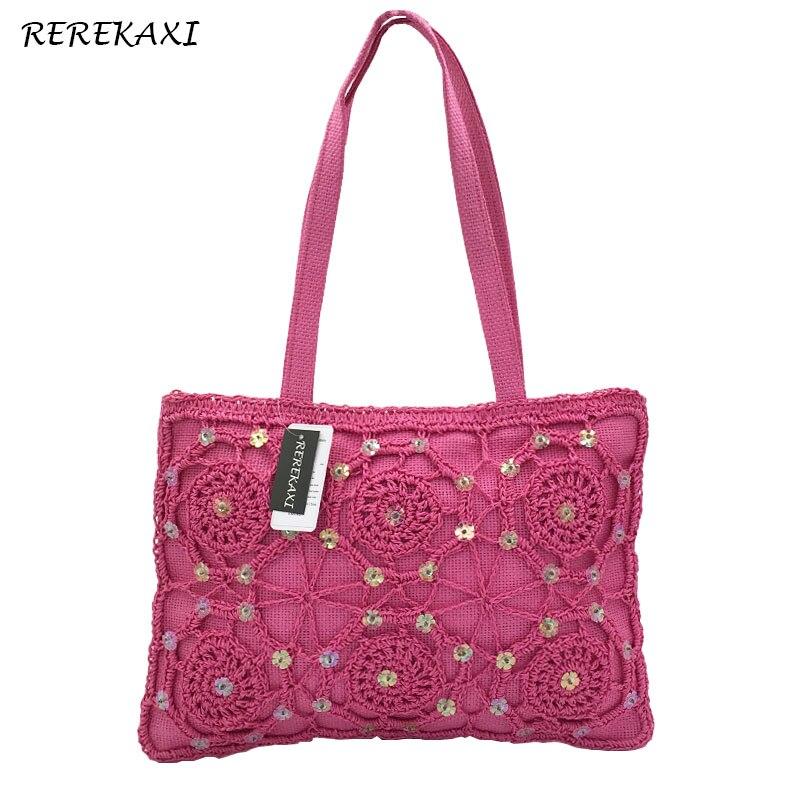 5e1522740584 REREKAXI Модные женские сумка ручной работы соломенные Пляжные Сумки  Роскошные дизайнерские сумки для отдыха и путешествий