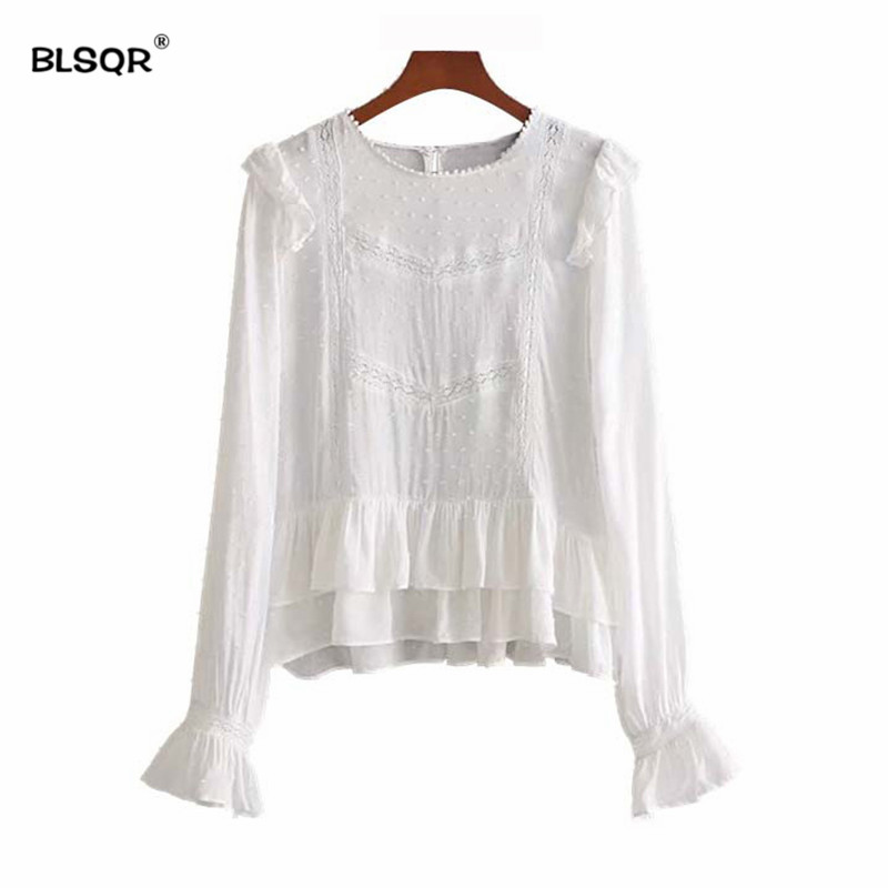 471b8ca665e BLSQR Fashion Women Sweet Ruffles Lace Patchwork White Shirts Long Sleeve  Pleated Blouse Ladies Summer Chic