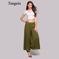 2017 Summer Trousers Women Solid Ethnic Mid Waist Wide Leg Pants Bohemian Loose Breathable Wide Legged