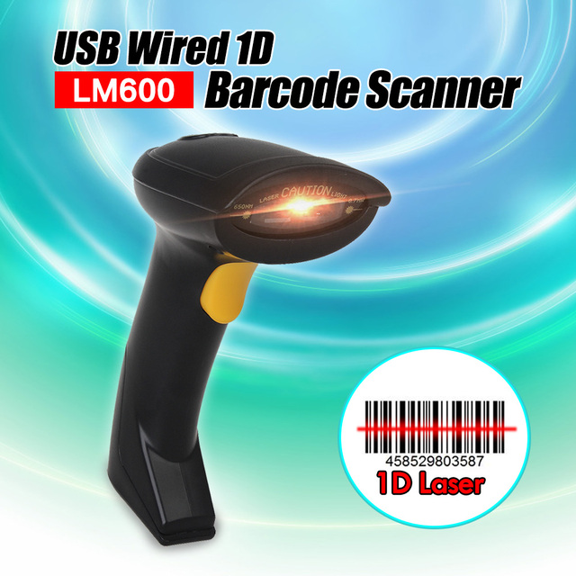 Free Shipping! Portable 1D Barcode Scanner Laser Scan Handheld USB Wired Laser Scan Barcode Bar Code Scanner Reader POS Decoder