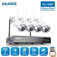 SANNCE Full HD 1080 P 8CH Беспроводная NVR CCTV система безопасности 2.0MP IP камера 1080 P Wifi Сеть IP66 комплект наружного наблюдения
