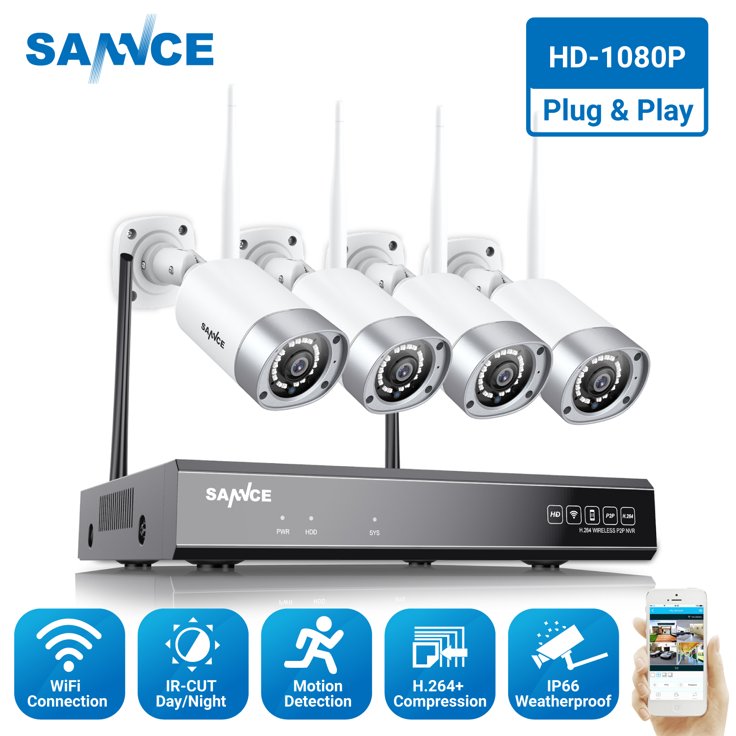 SANNCE Full HD 1080P 8CH Wireless NVR CCTV Security System 2.0MP IP Camera 1080P Wifi Network IP66 Outdoor Surveillance kit