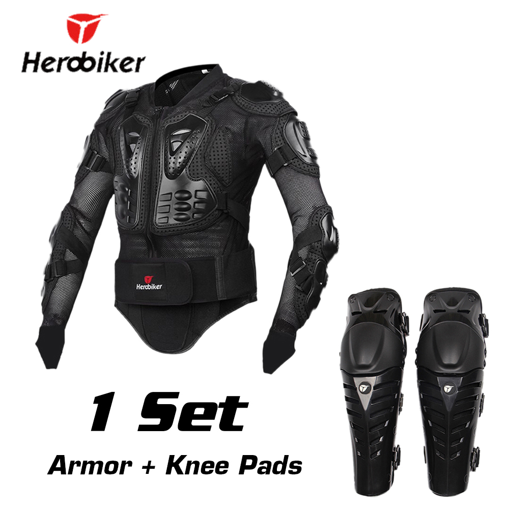 HEROBIKER Motorcycle Protection Moto Armor Motocross Protective Gear Motocross Armor Motorcycle Jacekt Armor with Moto Knees Pad herobiker back support armor removable