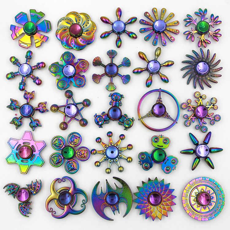 Fidget Spinner Rainbow Zinc Metal Star Flower Ball Tiger Hand Spinner Autism Adhd Kids Adults Antistress