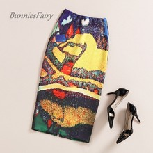 BunniesFairy Brand 2016 Spring Summer New Artistic Vintage Oil Painting Print High Waist Midi Pencil Skirt Wrap Bodycon Slim Fit