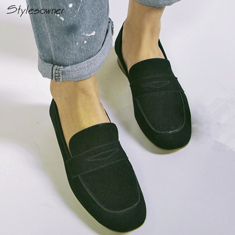 Stylesowner Fashion Slip On Women Casual Shoes Genuine Leather Solid Big Size Round Toe Loafers Comfort Breathable Women Loafers spring shoes women genuine leather shoes fashion casual loafers fringe slip on round toe solid female shoes plus size 35 44