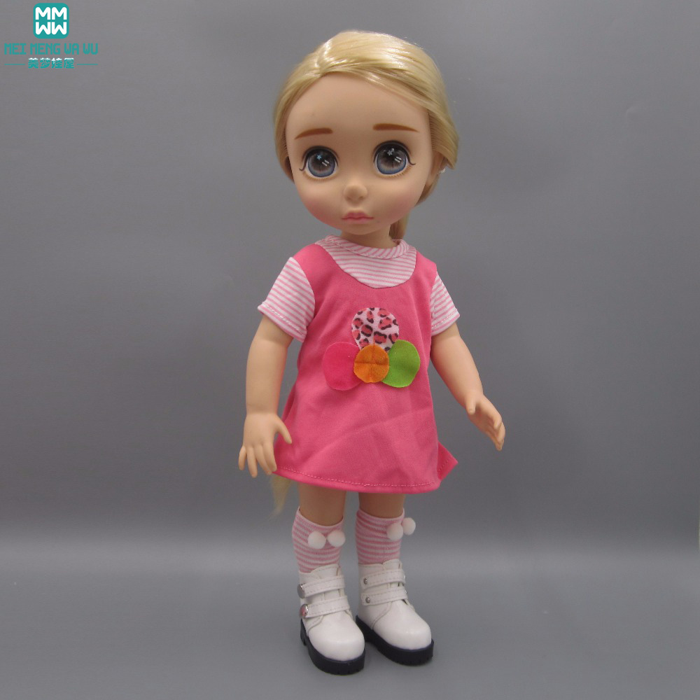 Clothes for dolls 40cm Sharon doll Accessories Rose red dress short skirts Shoes and socks famosa doll clothes 36cm nenuco original doll accessories doll clothes for 40cm sharon doll