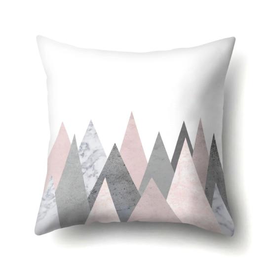 สีชมพูเรขาคณิต Nordic เบาะรองนั่ง Tropic สับปะรดโยนหมอนฝาครอบเบาะโพลีเอสเตอร์โซฟาเตียงตกแต่งหมอน