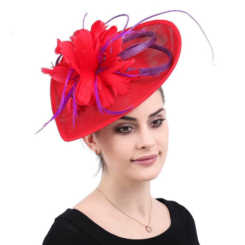 red Kenducky derby headwear cocktail feathers fascinators hats wedding chapeau caps women ladies female elegant hair accessories