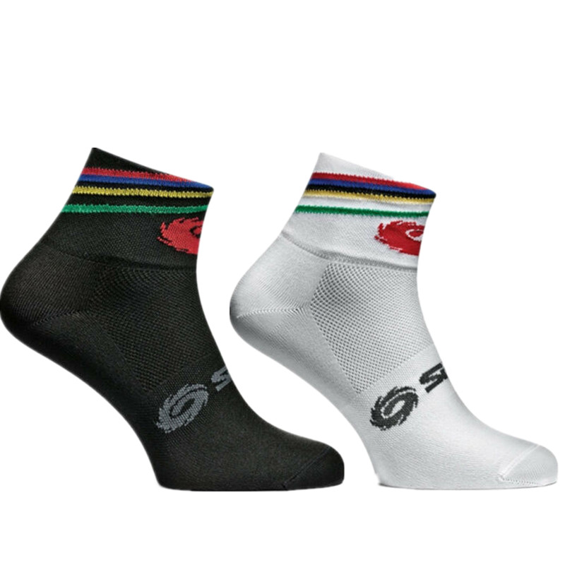 New Short Sports Cycling Socks Color Stripe Breathable Professional Compression Outdoor Racing Bike Socks