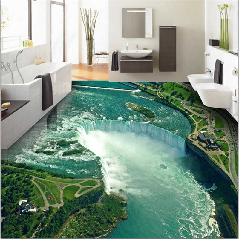 wellyu Custom floor painting 3d wallpaper decoration to draw high-definition water production waterfall 3D floor papel de pared