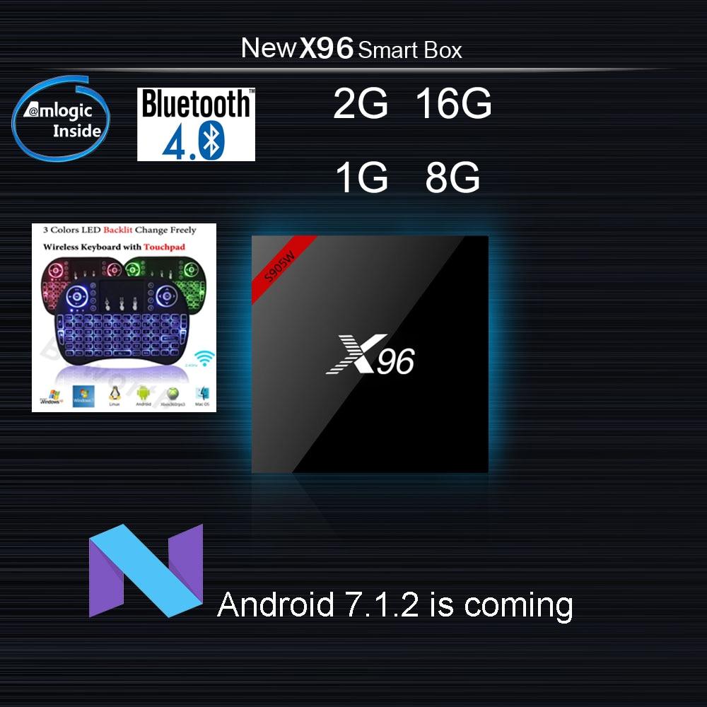 X96 mini tv box Android 7.1 wireless keyboard bluetooth optional 2G 16G 1G 8G Amlogic S905W Quad Core Suppot H.265 4K 2.4G WiFi new x95 tv box amlogic s905 quad core android 5 1 1 wifi bluetooth 4 0 1g 8g set top box mini i8 remote controller keyboard