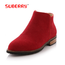 SUBERRY Big Size 41 Women's Chelsea Boots Genuine Nubuck Leather Fishion Life Style Flat Ankle Boots 5 Color Ladies Casual Shoes