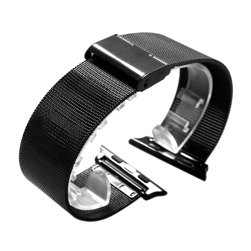 Black Stainless Steel Mesh Band Bracelet for Apple Watch 38mm 42mm Watchband for iWatch Milanese Loop with Connector Adapter kopeck milanese loop strap for apple watch band 42mm 38mm mesh stainless steel bracelet strap for iwatch serie 1 2 3 wrist band