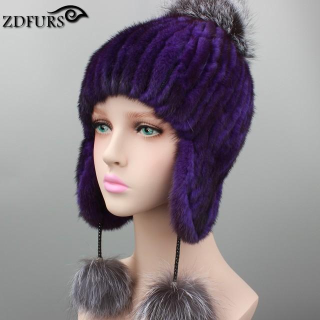ZDFURS * verdadeira pele de vison chapéu mulheres inverno pele de raposa pom poms nova marca grosso cap fêmea pele de vison de malha gorros cap