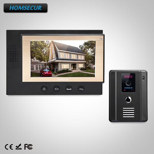 HOMSECUR 7 Hands-free Video Door Entry Security Intercom+One Button Unlock (TC011-B+TM701-B) homsecur 8 wired hands free video door entry security intercom lcd color screen tc011 w tm801r b