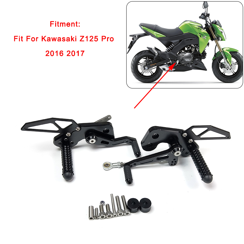 MTCLUB For KAWASAKI Z125 Pro 2016 2017 CNC Rider Adjustable Rearsets Rear Sets Footrest Foot Rests