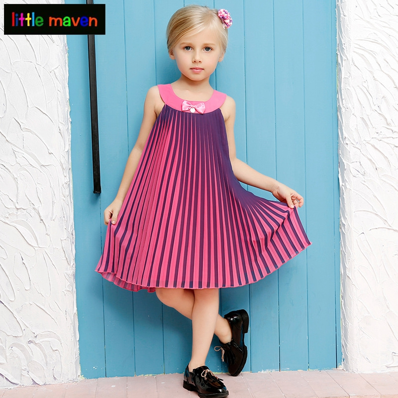 Girl Evening Dress Cotton Pleated 2017 Summer Style Teenager Princess Dress Kids Clothes Children Party Dresses for Girls brand new cotton floral prints pleated sleeveless dress children clothes princess girl evening dresses kids girls party sundress