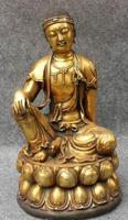 """S5458 12 """"Tibet Bronzevergoldung Buddhismus Krummen Hals Lao Mu Buddha Lotus kwan yin Statue-in Statuen & Skulpturen aus Heim und Garten bei"""