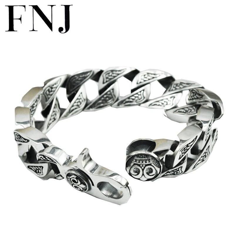 17 MM boîte grande chaîne homme s925 bracelet en argent massif pur 925 en argent sterling bracelets hommes bijoux HKB17