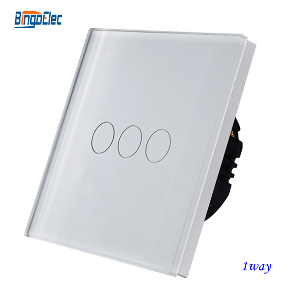 white crystal toughened glass panel 3gang 1way touch light switch,wall switch smart home eu touch switch wireless remote control wall touch switch 3 gang 1 way white crystal glass panel waterproof power