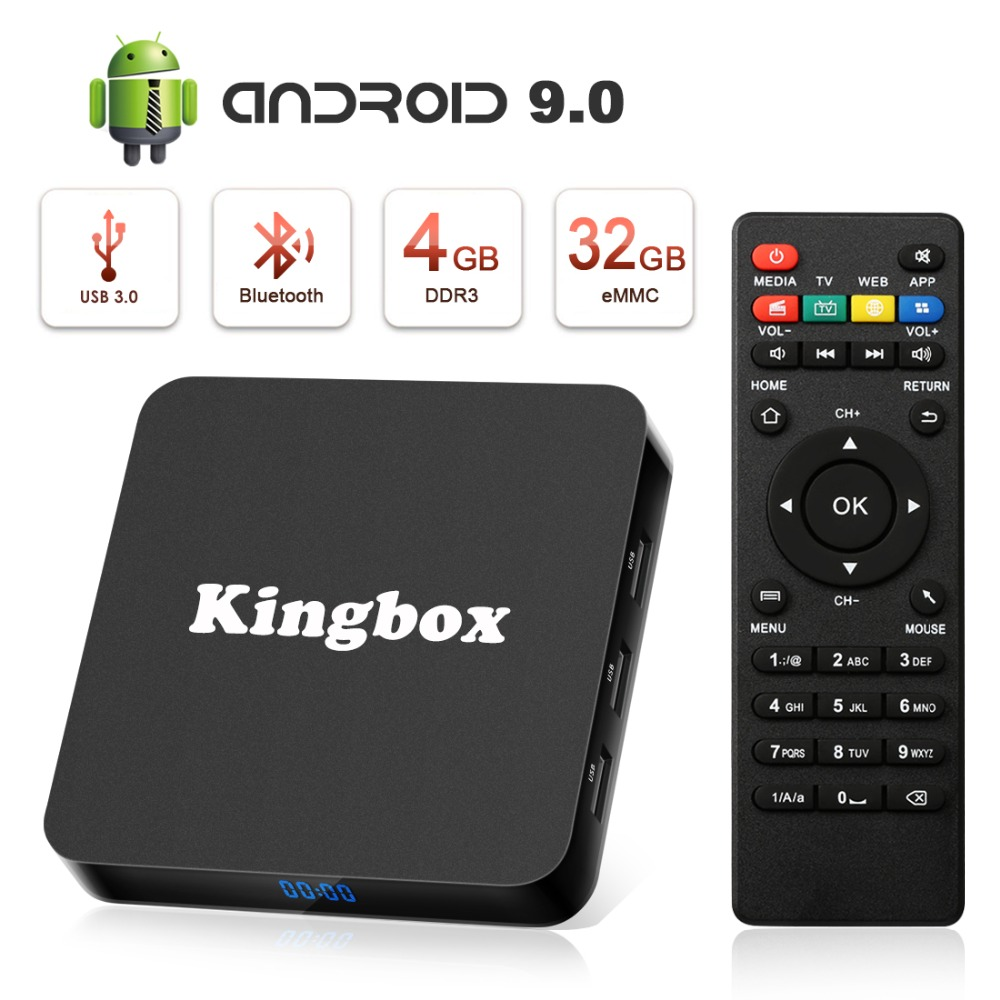 Android TV Box 9.0, K4 S Android Box with 4GB RAM 32GB ROM Quad-Core Support BT 4.1 WiFi 4K 3D H.265 TV Box with RemoteAndroid TV Box 9.0, K4 S Android Box with 4GB RAM 32GB ROM Quad-Core Support BT 4.1 WiFi 4K 3D H.265 TV Box with Remote